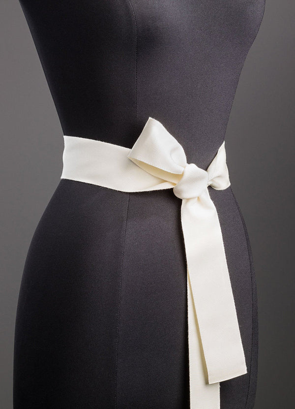 Ivory Silk Grosgrain Ribbon Belt, Wide - Darby Scott--alternate