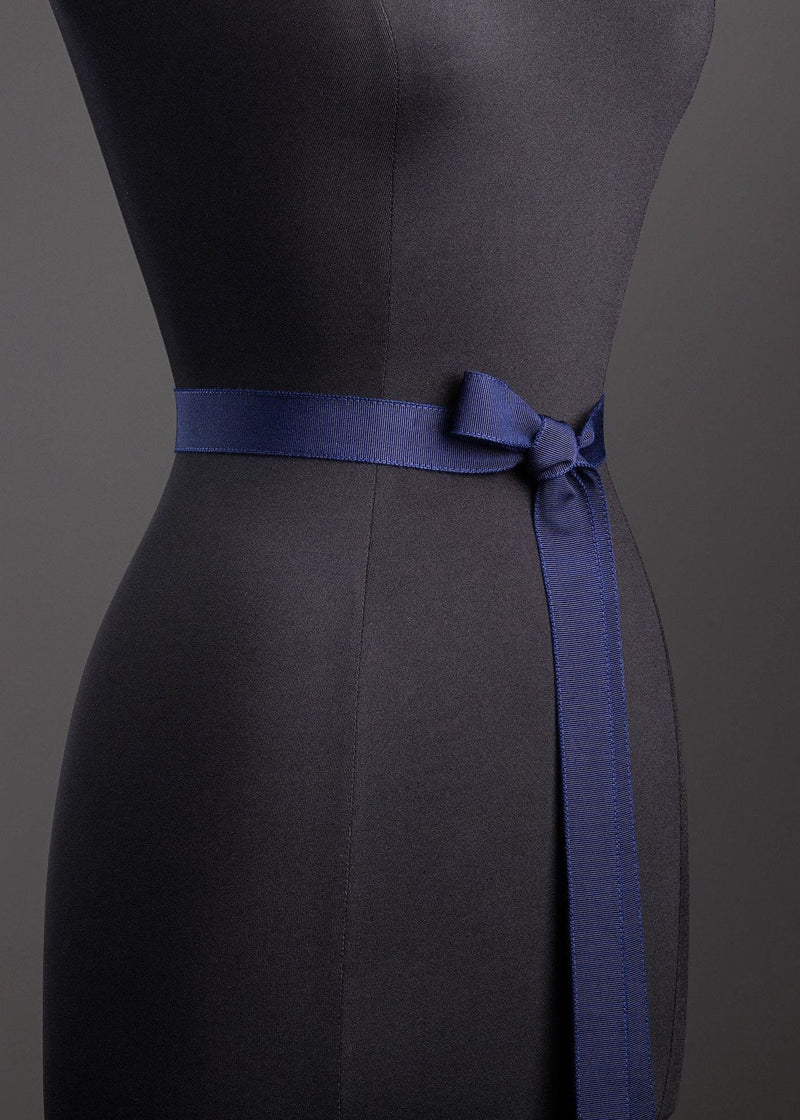Navy Silk Grosgrain Ribbon Belt, Narrow - Darby Scott