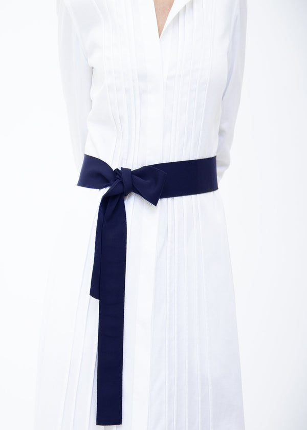 Wide Grosgrain Ribbon Belt in Navy on Model - Darby Scott