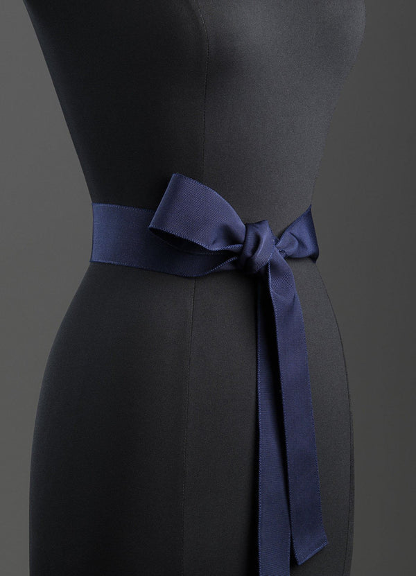 Navy Silk Grosgrain Ribbon Belt, Wide - Darby Scott--alternate