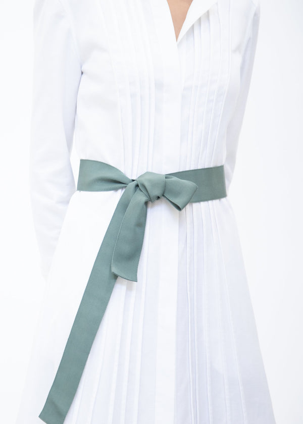 Wide Grosgrain Ribbon Belt in Sage Green on Model - Darby Scott