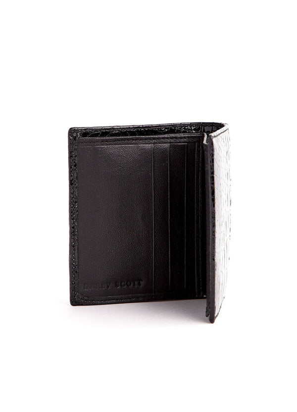 Left Interior view Black Crocodile Euro Wallet - Darby Scott--alternate