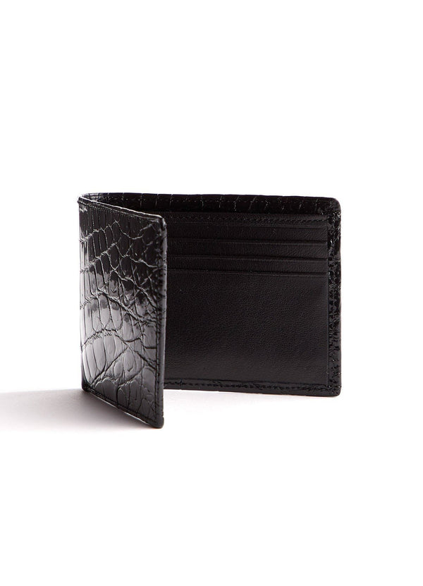Right Interior view of Black Nile Crocodile Bi-Fold Wallet - Darby Scott--alternate
