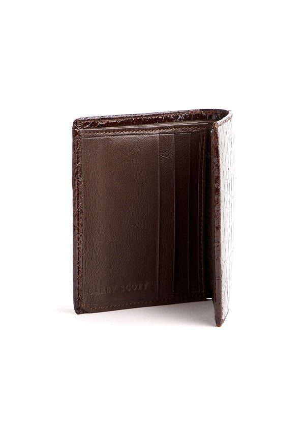 Left Interior view of Brown Crocodile Euro Wallet - Darby Scott--alternate