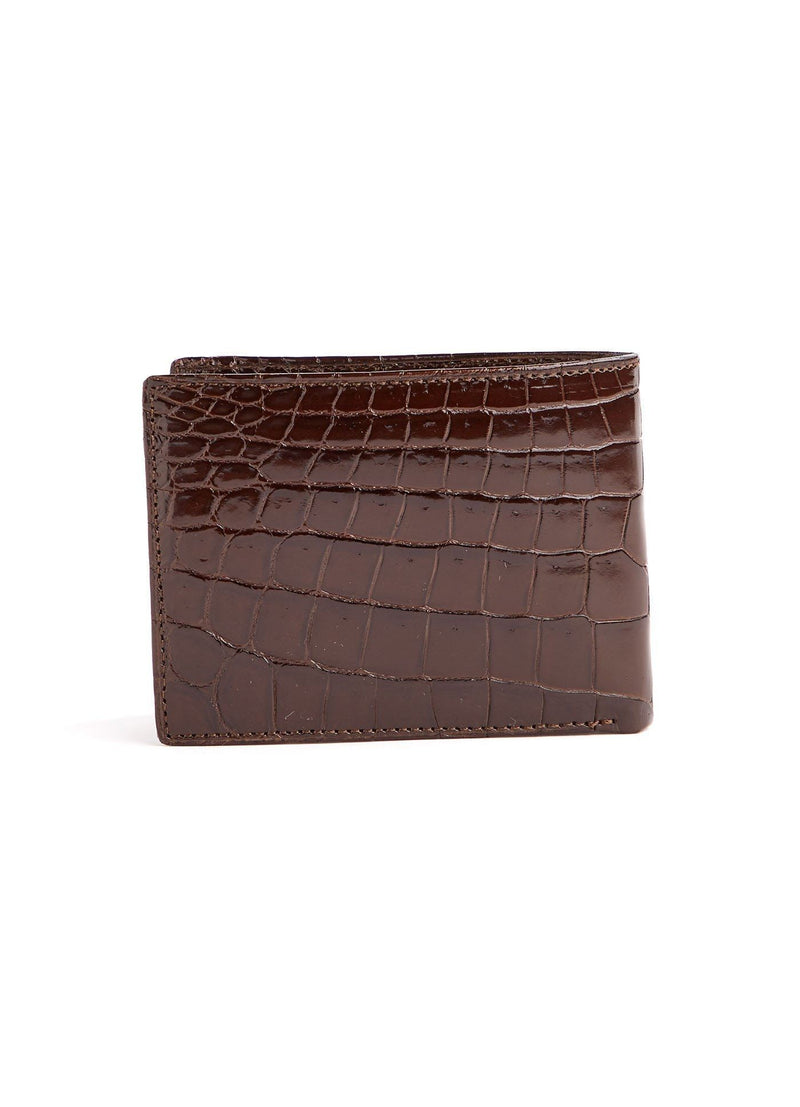 Back view of brown Classic Slimfold Crocodile Wallet - Darby Scott