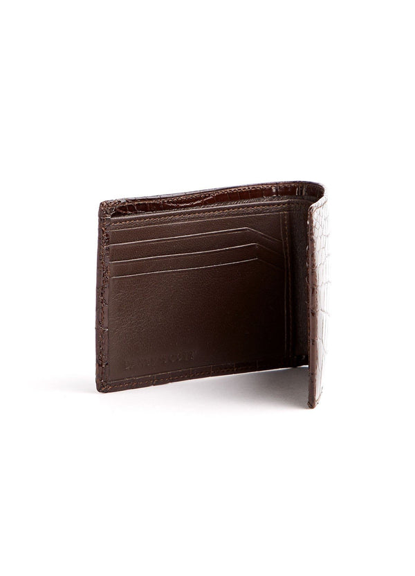 Left Interior view of Brown Crocodile Slimfold Wallet - Darby Scott--alternate