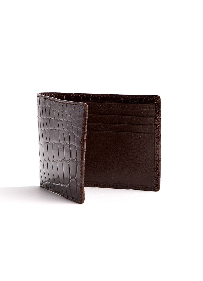Right Interior view of brown Slimfold Crocodile Wallet - Darby Scott