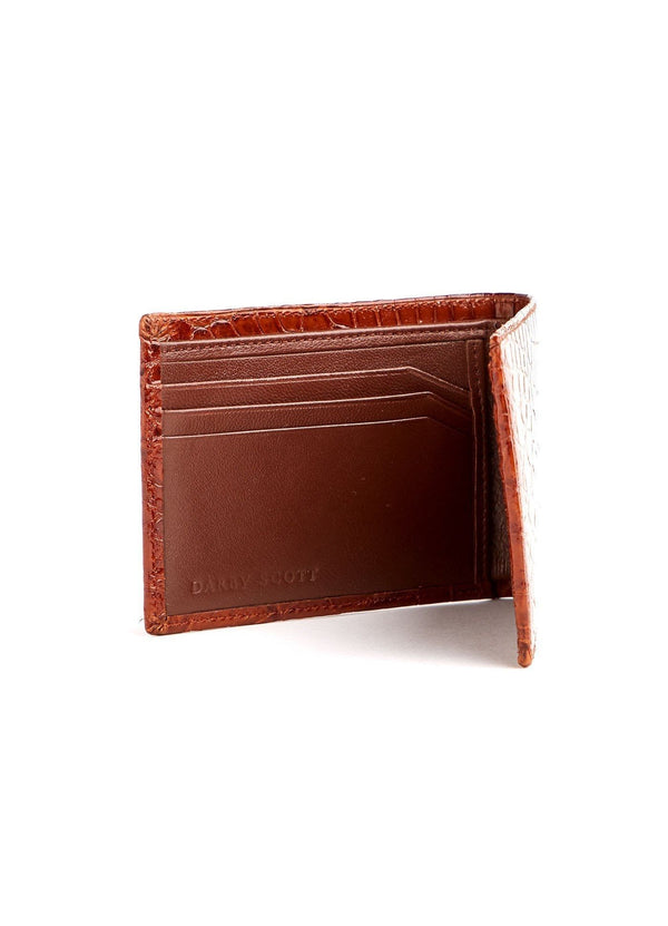 Left Interior view of Slimfold cognac Crocodile Wallet - Darby Scott--alternate
