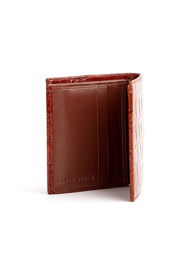 Left Interior view of Cognac Crocodile Euro Wallet - Darby Scott--alternate