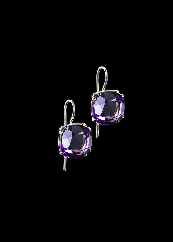 Cushion Cut Amethyst Earring in Sterling Silver  - Darby Scott