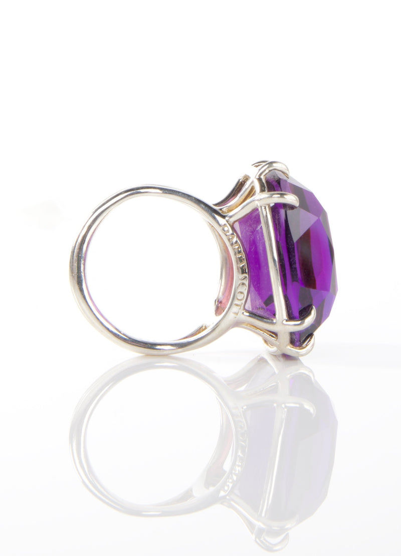 Side view Amethyst Sterling Ring