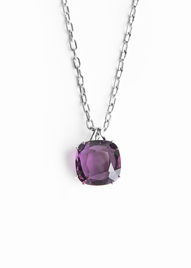 Dark Amethyst 34 Carat Cushion Cut Pendant in Sterling Silver - Darby Scott
