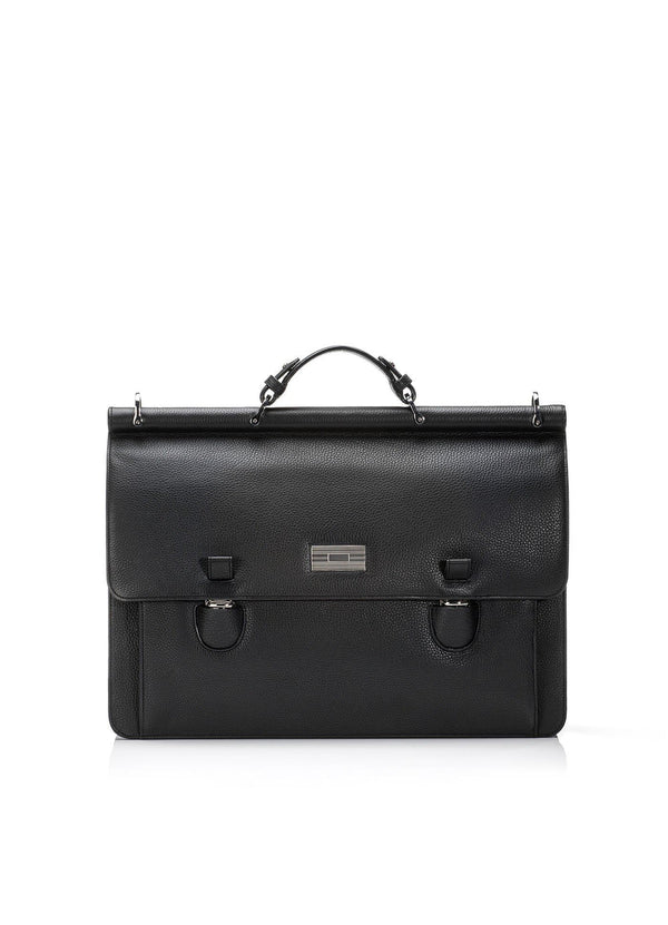 Black Leather London Attache with Sterling Monogram Plate - Darby Scott--alternate
