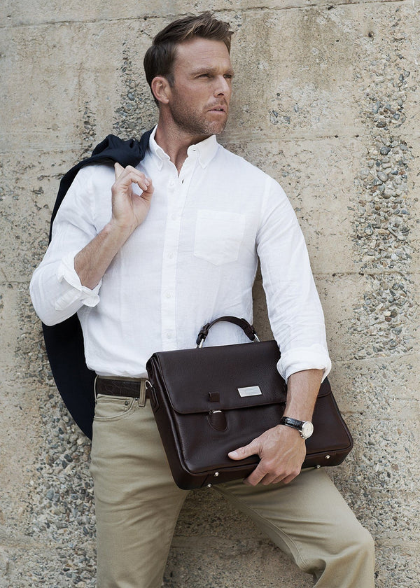 Model with Brown Pebble Leather Hudson Tuck Lock Attache - Darby Scott