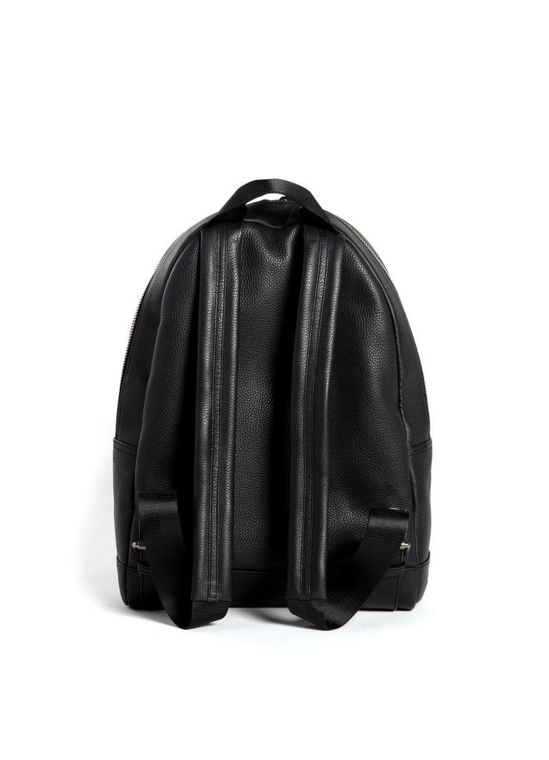 Back of Black Leather Monogram Stuart Backpack - Darby Scott