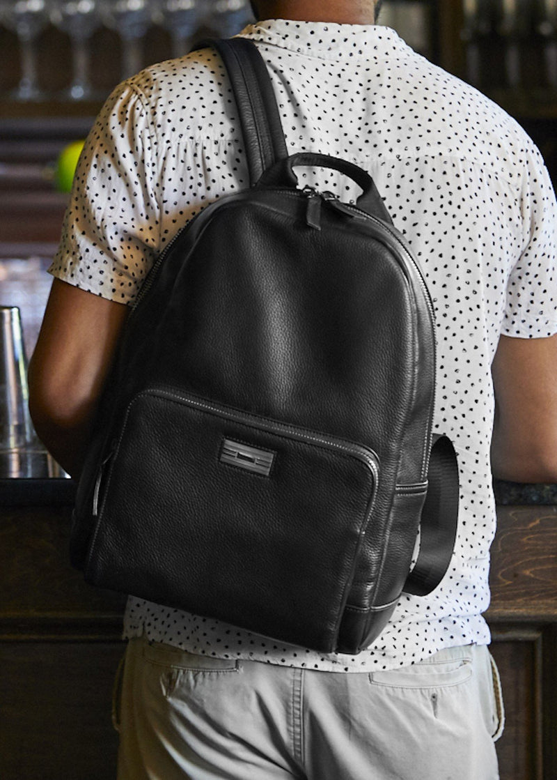 Model with Black Leather Monogram Stuart Backpack - Darby Scott
