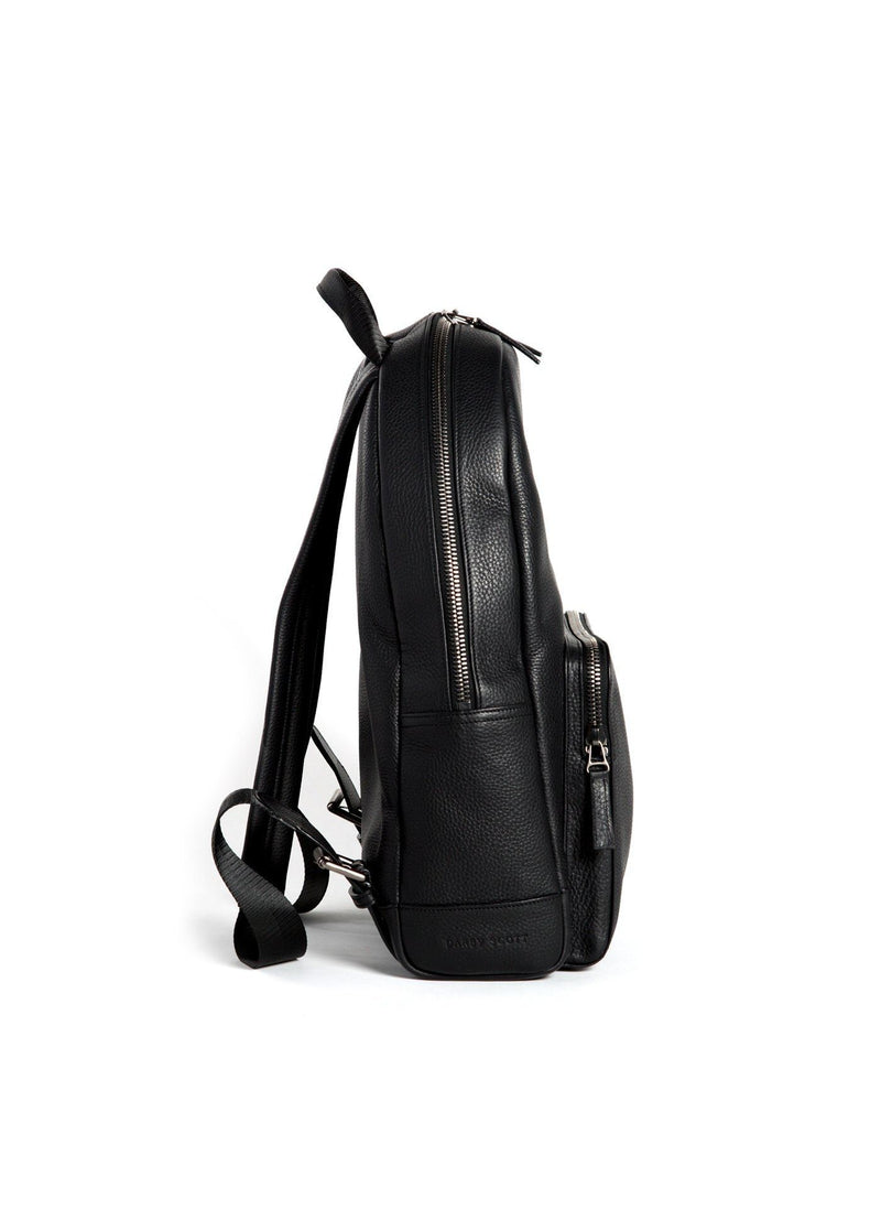 Side of Black Leather Monogram Stuart Backpack - Darby Scott