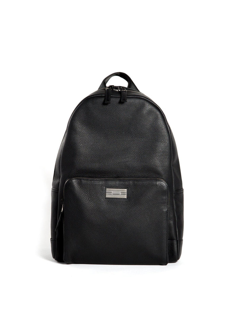 Black Leather Stuart Backpack with Sterling Silver Monogram Plate - Darby Scott