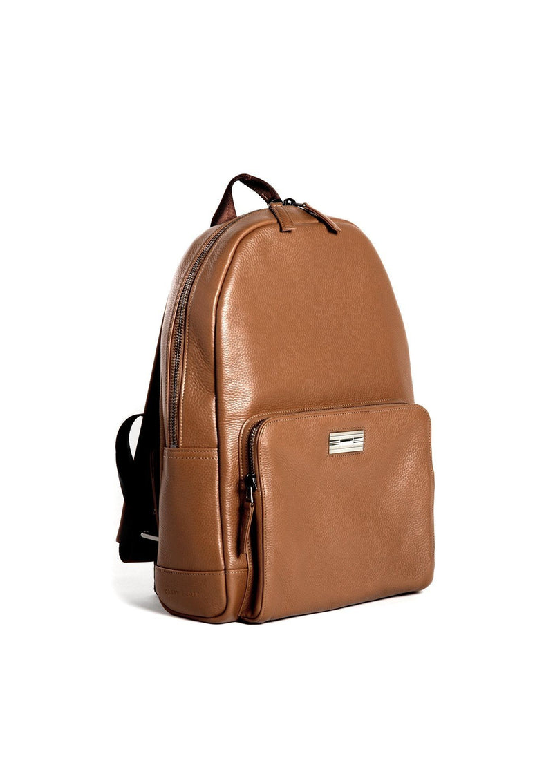 Angled View of Cognac Leather Monogram Stuart Backpack - Darby Scott