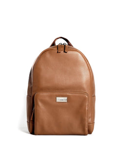 Cognac Leather Stuart Backpack with Sterling Silver Monogram Plate - Darby Scott