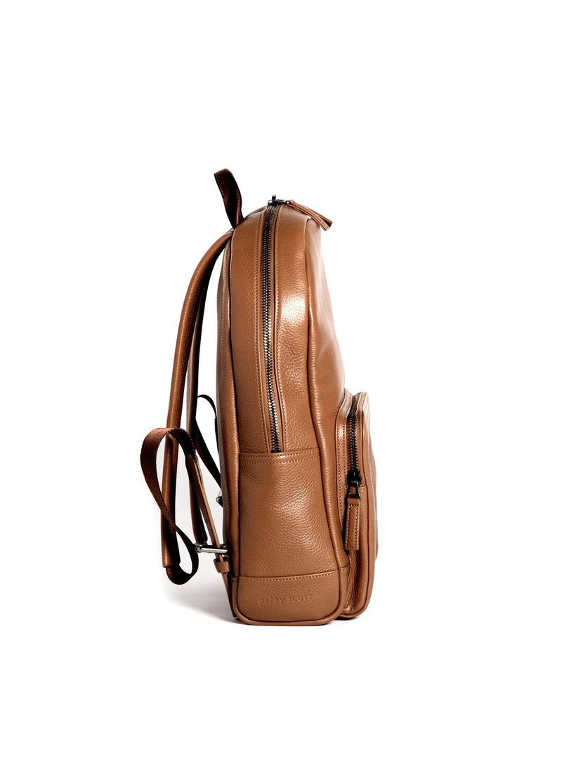 Side of Cognac Leather Monogram Stuart Backpack - Darby Scott