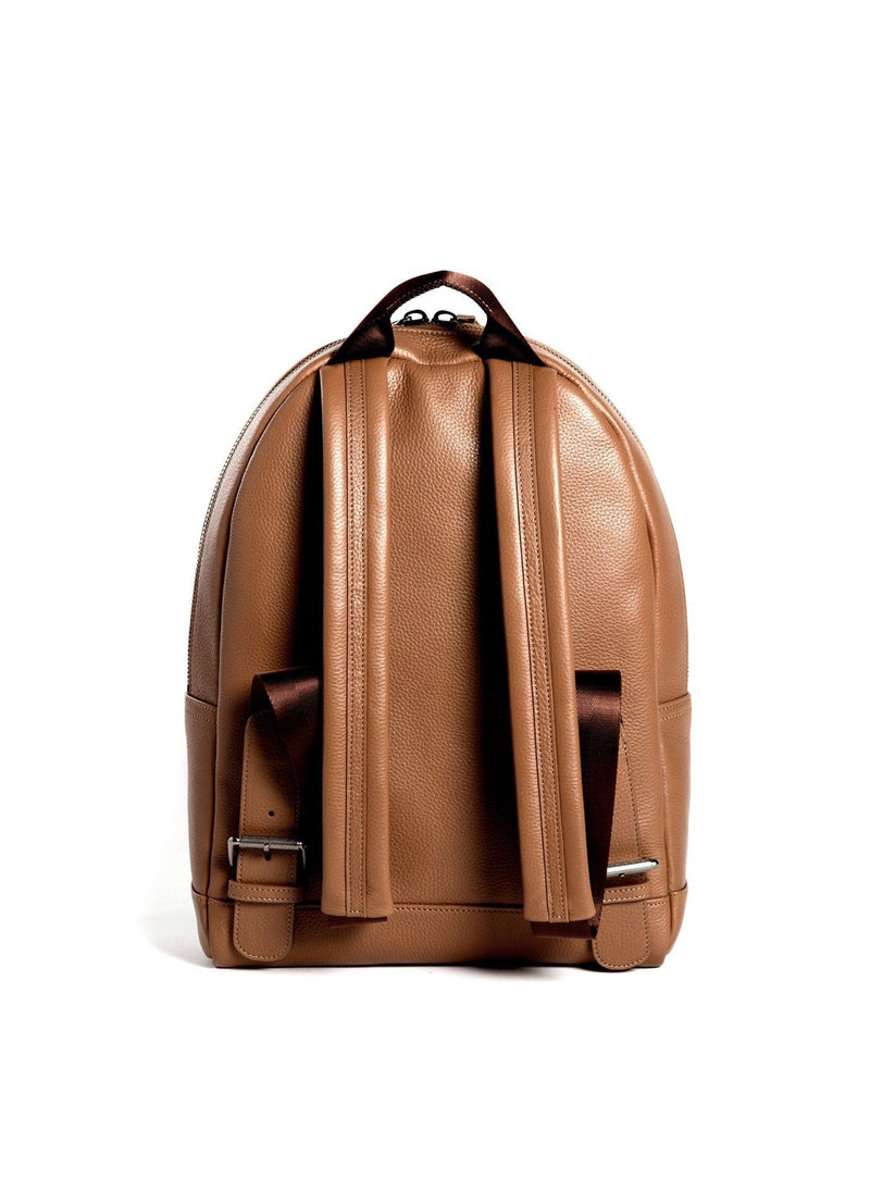 Back of Cognac Leather Monogram Stuart Backpack - Darby Scott