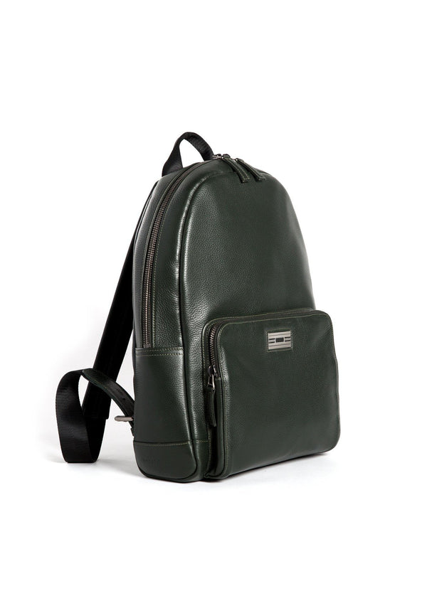 Angled View Dark Green Leather Monogram Stuart Backpack - Darby Scott--alternate