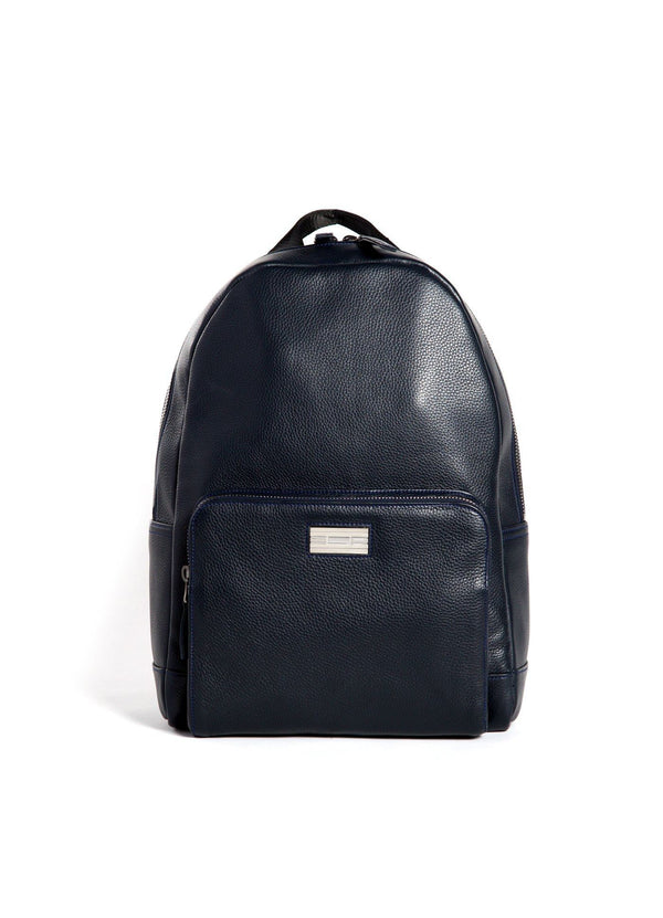 Navy Leather Stuart Backpack with Sterling Silver Monogram Plate- Darby Scott