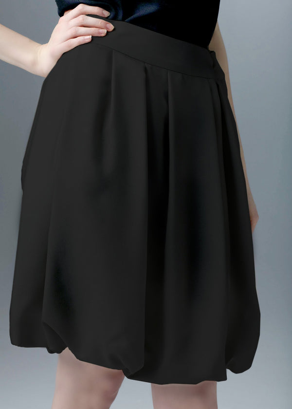 Close up of black silk bubble skirt - Darby Scott--alternate
