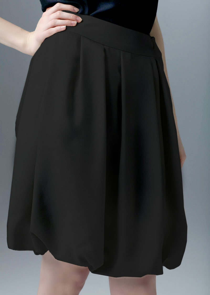 Close up of black silk bubble skirt - Darby Scott