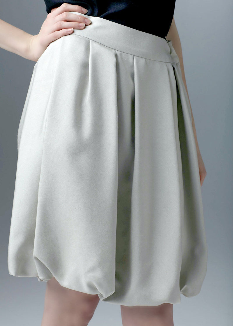 Close up of Silver Silk Dupioni Bubble Skirt - Darby Scott
