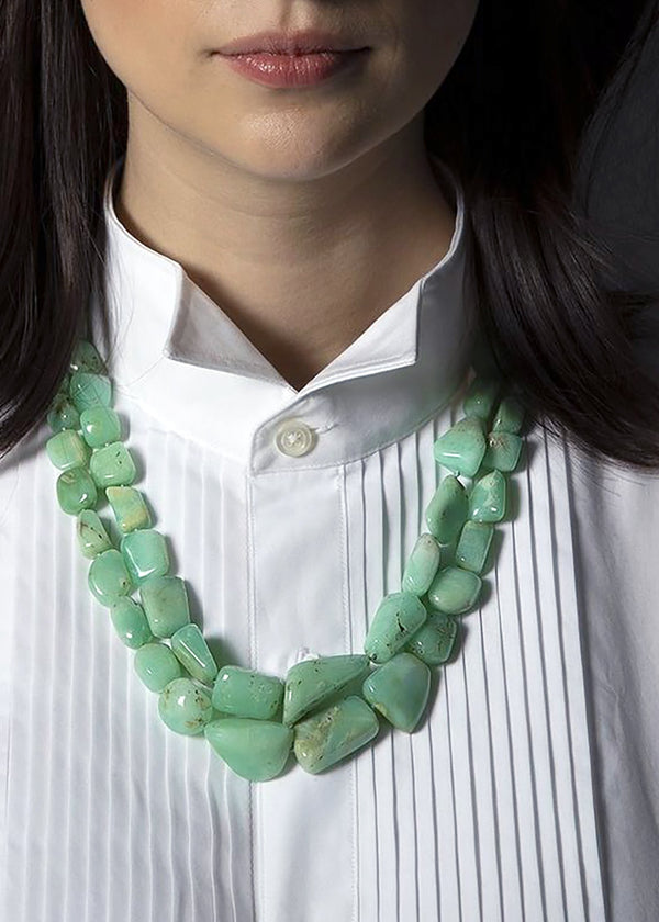 Chrysoprase necklace, two strands with 18K yellow gold clasp - Darby Scott