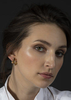 Citrine diamond 18k gold earring mosaic 3 stone post on model - Darby Scott
