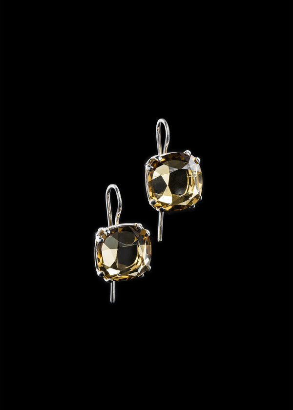 Citrine 12MM Cushion Cut Sterling Silver Earring - Darby Scott