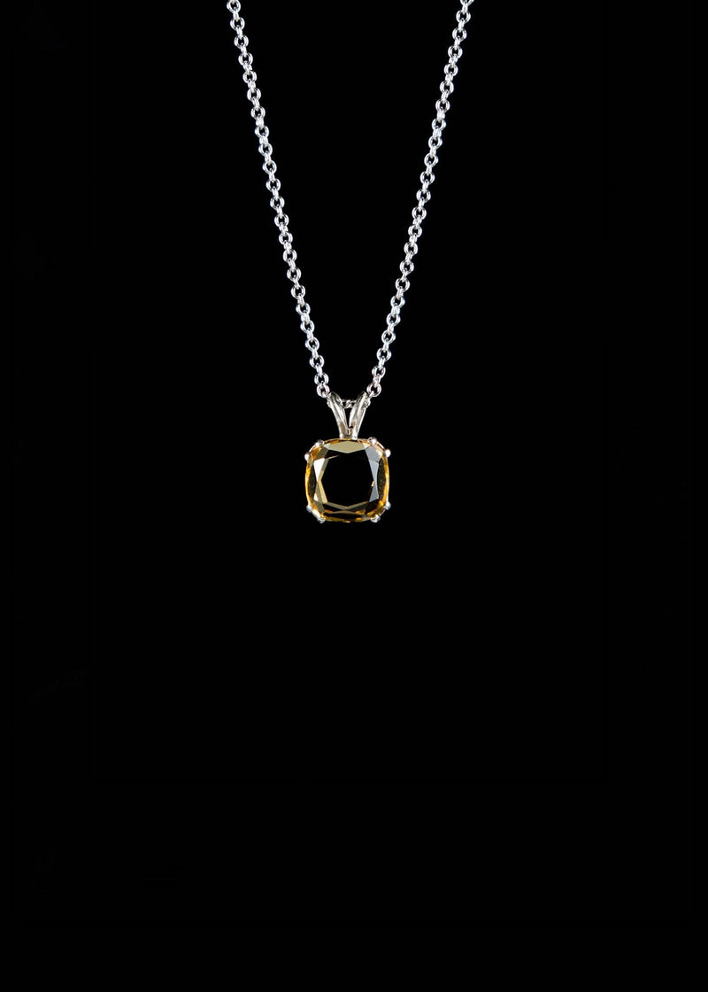 Citrine 12MM Cushion Cut Pendant in Sterling Silver - Darby Scott