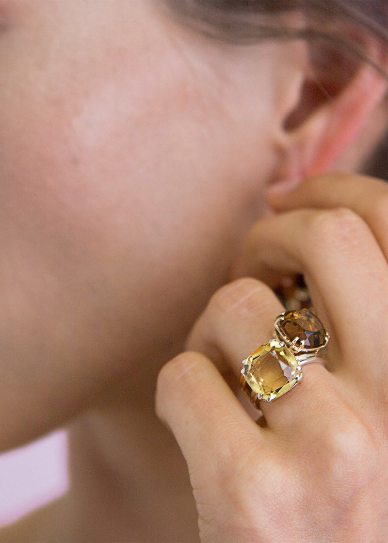 Citrine Ring 12MM Cushion Cut set in 14K Yellow Gold - Darby Scott
