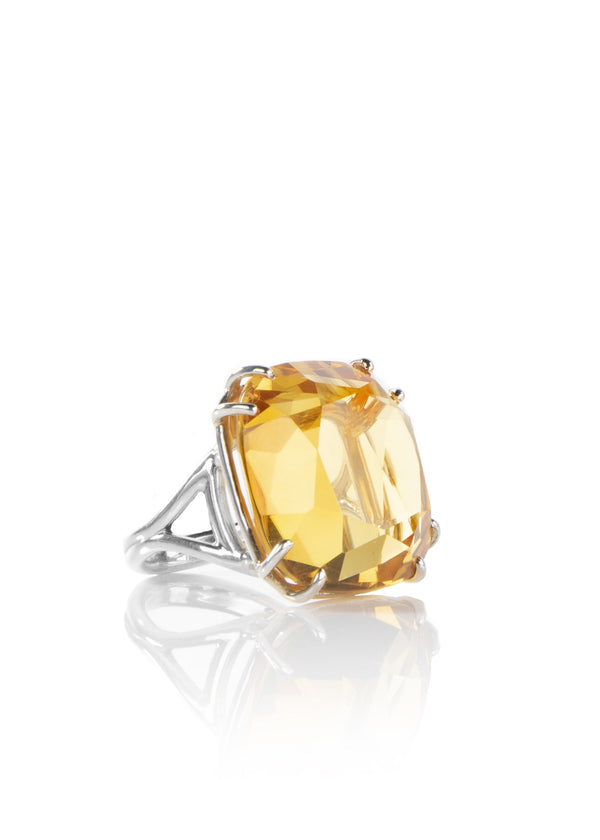 Citrine sterling ring 34 carat cushion cut - Darby Scott