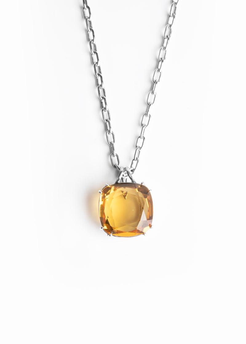 Orange Citrine 34 Carat Pendant in Sterling Silver - Darby Scott