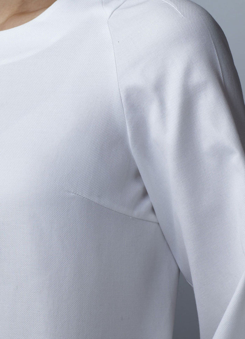 Close up of front of White Long Sleeve Jewel Neck Blouse - Darby Scott
