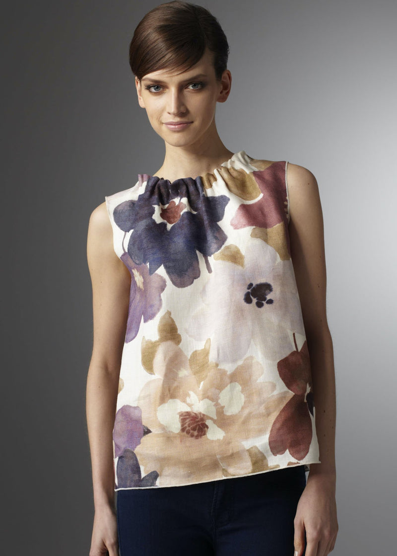 Linen Sleeveless Shell with purple floral print - Darby Scott
