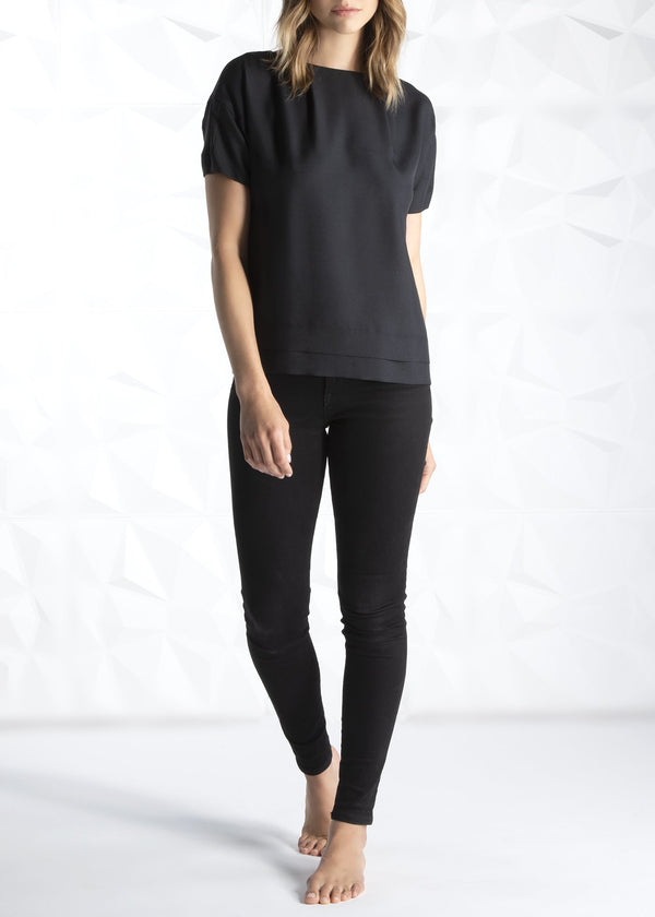 Black Silk Bateau Neck Blouse on Model - Darby Scott