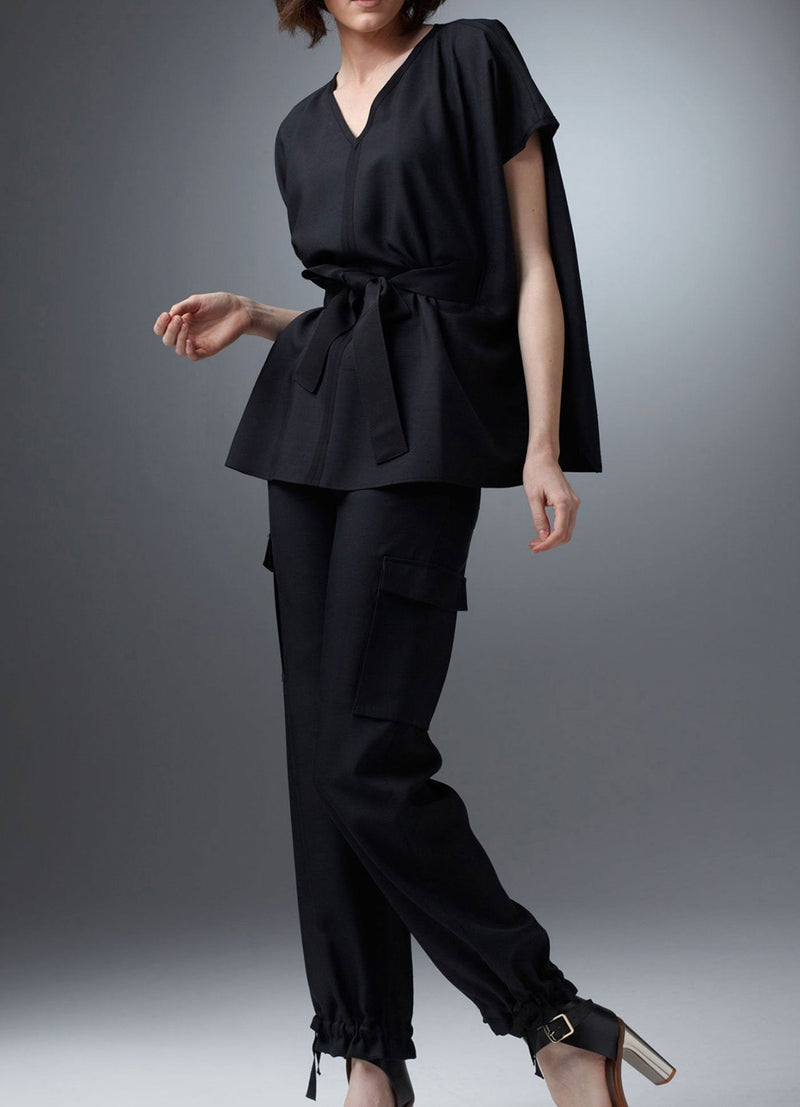 Black Belted Tunic Top on model - Darby Scott