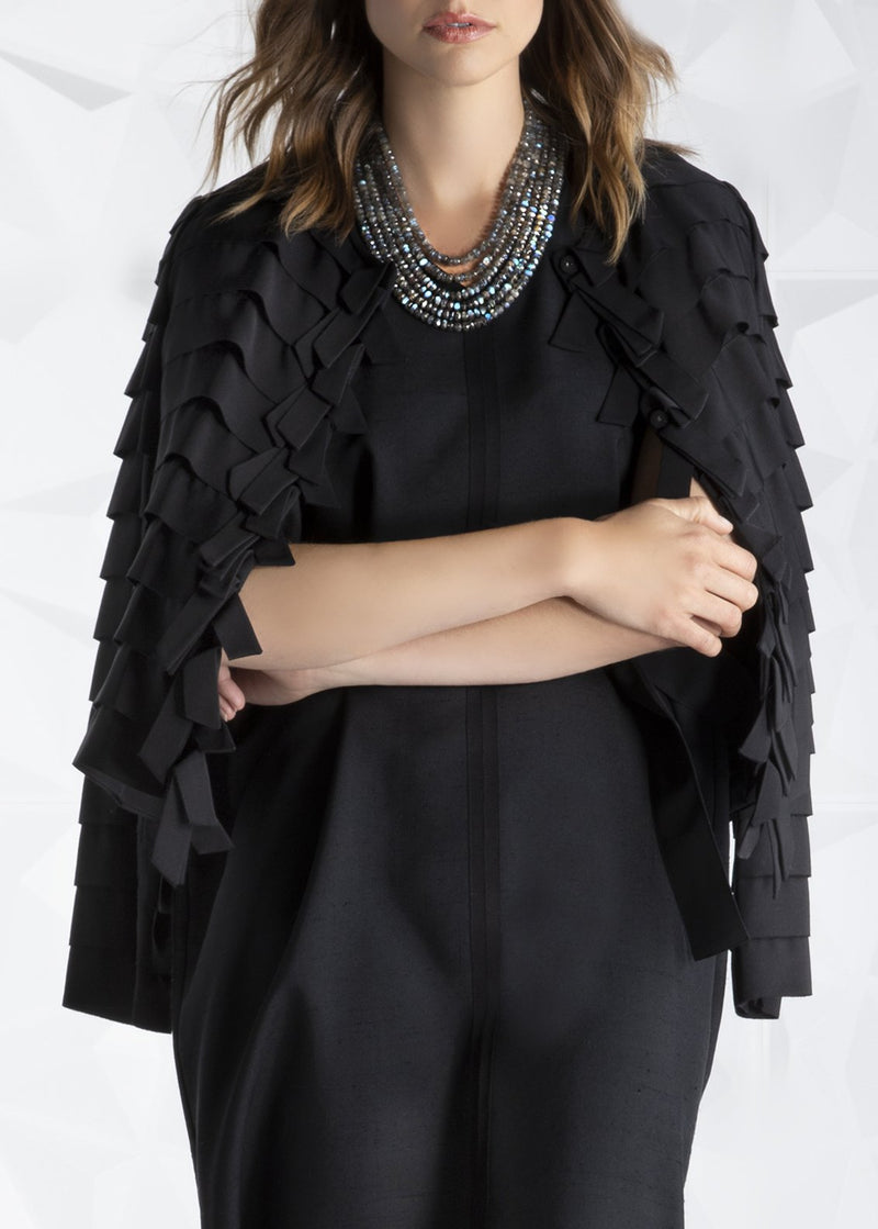 Model wearing Black Silk Ribbon Jacket - Darby Scott