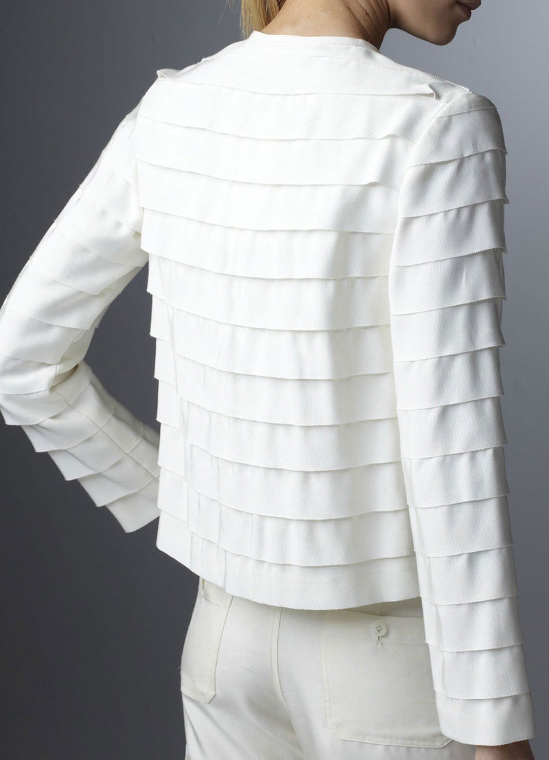 Model in Ivory Silk Grosgrain Ribbon Jacket back view - Darby Scott