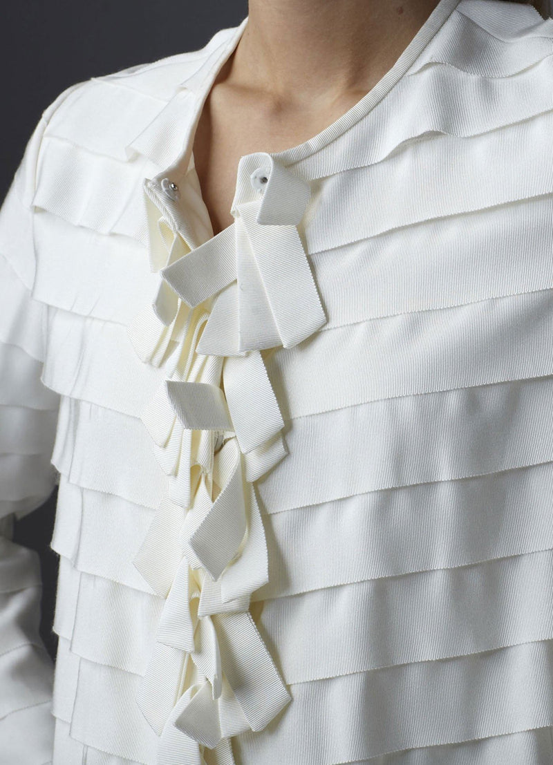 Model in Ivory Silk Grosgrain Ribbon Jacket close up front - Darby Scott