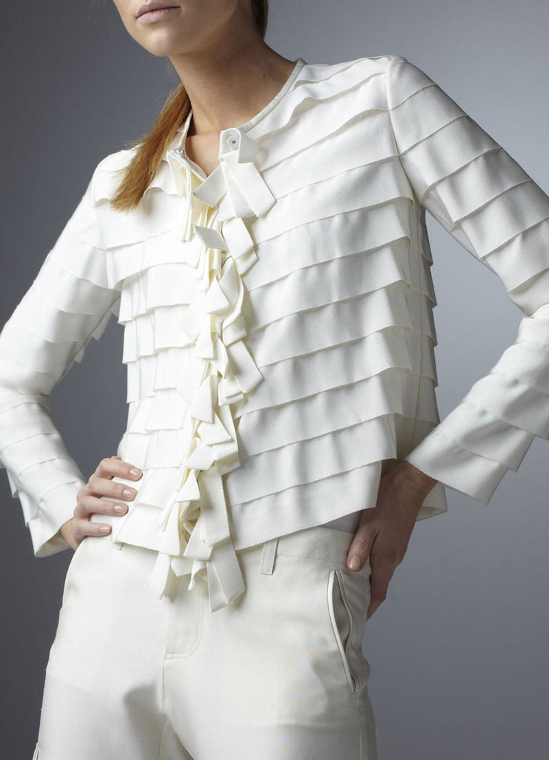 Model in Ivory Silk Grosgrain Ribbon Jacket front view - Darby Scott