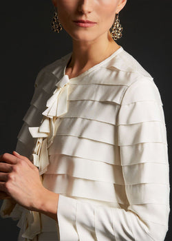 Model in Ivory Silk Grosgrain Ribbon Jacket side view - Darby Scott