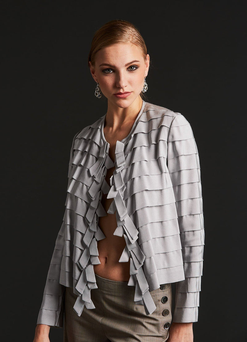 Model in Silver Silk Grosgrain Ribbon Jacket front view - Darby Scott