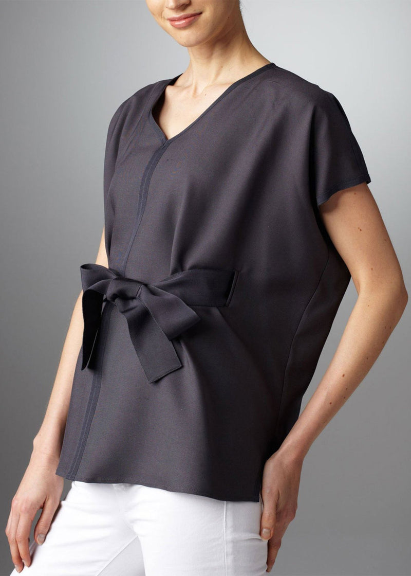 Short Drop Sleeve Grey Silk Fly Away Belted Tunic on model - Darby Scott