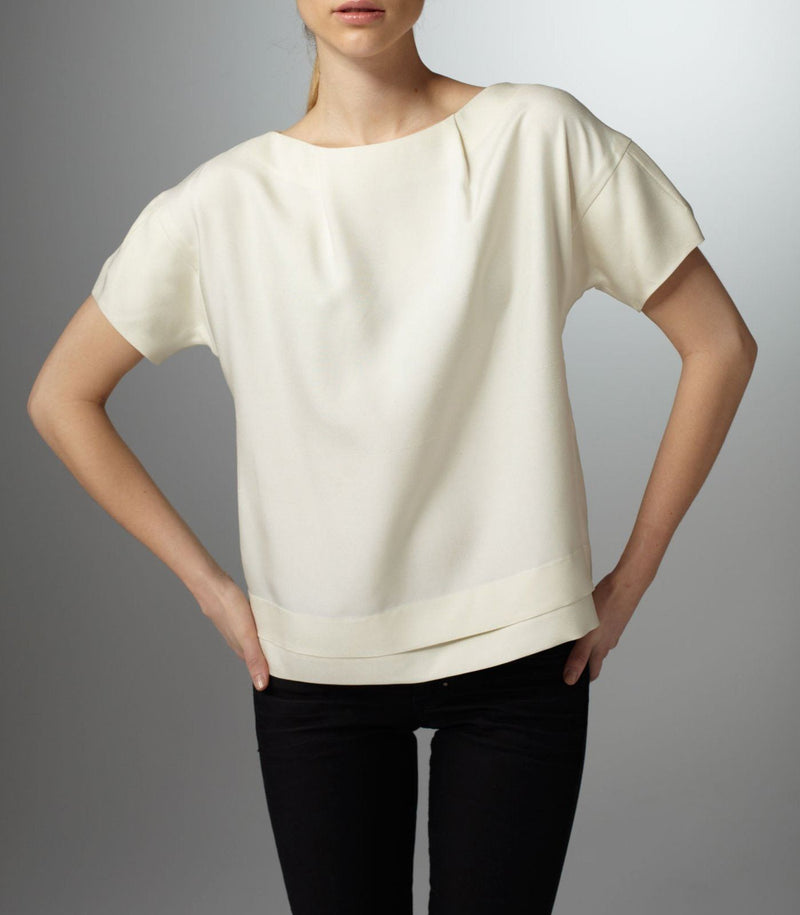 Ivory Bateau Neck Blouse with pleated sleeve - Darby Scott